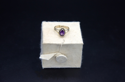 Sterling Silver Pear Shape Ring- Amethyst