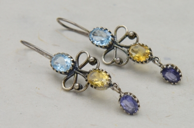 Sterling Silver Flower Shape - Citrine + Blue Topaz Combo Earring