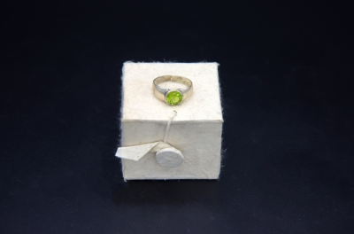 Sterling Silver Round Shape Ring- Peridot