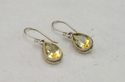Sterling Silver Pear Shape Earing Citrine