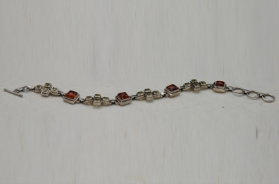 Sterling Silver Combo Chain Style Bracelet  Amber + Citirne
