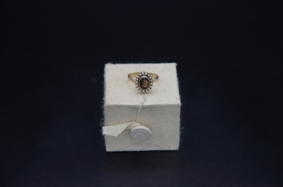 Sterling Silver Floral Design Ring Smoky