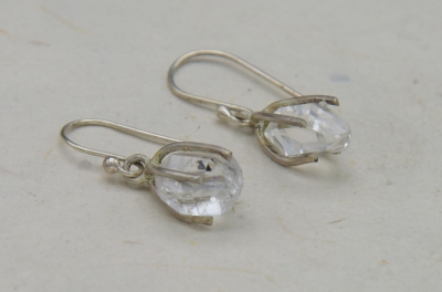 Sterling Silver Long Shape Earing  Herkimar Diamond