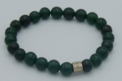 Green Jade Dimond Cut Bracelet